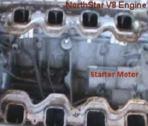 the starter motor location on a Norstar v8 engine