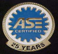 ASE certified 25 years medallion
